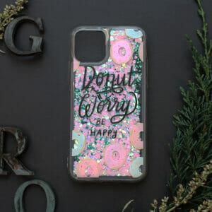 iphone 11 PRO MAX glitter, DONUT WORRY farvet
