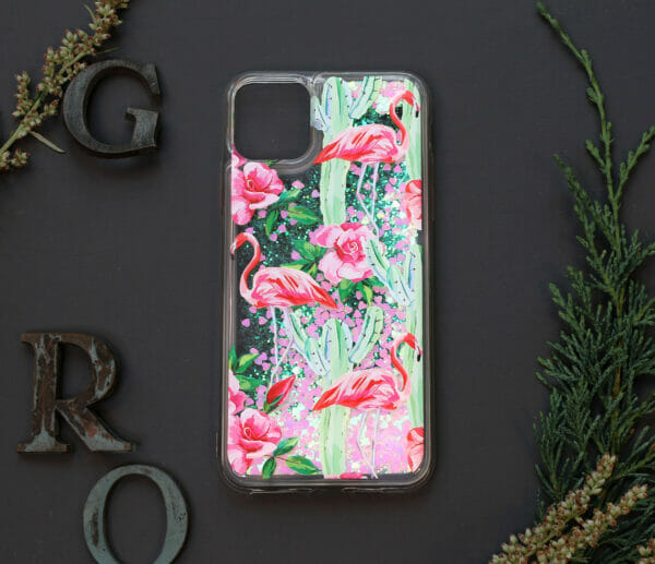 iphone 11 PRO MAX glitter, flamingo farvet