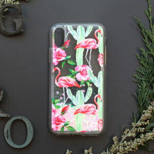 iphone X/XS glitter, flamingo farvet
