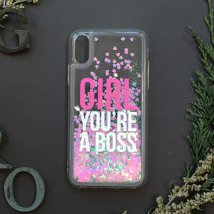 iphone X/XS glitter, GIRL YOU'RE A BOSS farvet