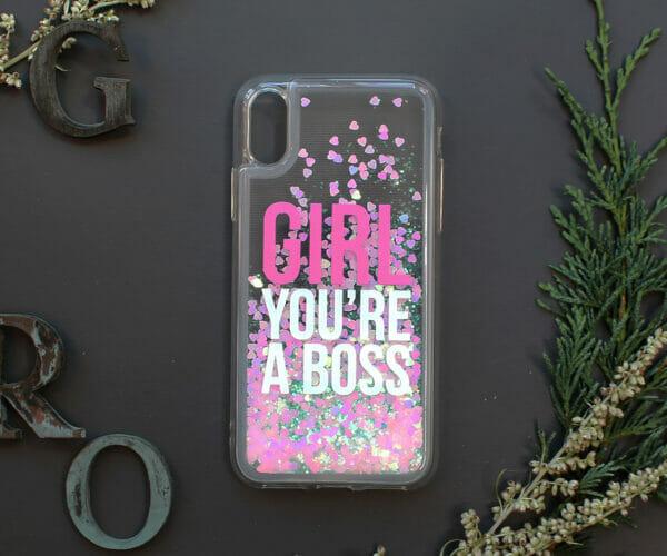 iphone X/XS glitter, GIRL YOU'RE A BOSS farvet