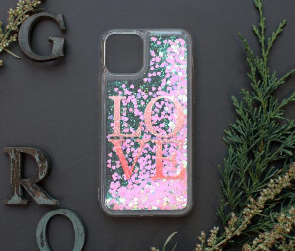 iphone 11 PRO MAX glitter, LOVE farvet