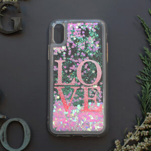 iphone X/XS glitter, LOVE, farvet