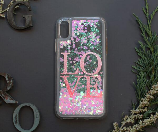 iphone X/XS glitter, LOVE, farvet