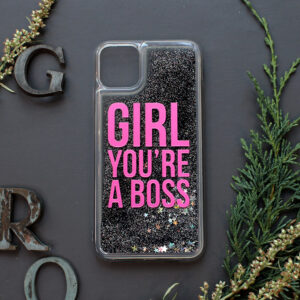 iphone 11 PRO MAX glitter, GIRL YOU'RE A BOSS, mørk