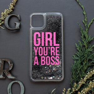 iphone 11 PRO MAX glitter, GIRL YOU'RE A BOSS, mørk