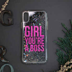 iphone X/XS glitter, GIRL YOU'RE A BOSS mørk