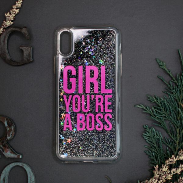 iphone X/XS glitter, GIRL YOU'RE A BOSS mørk