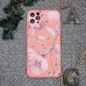 iphone 11 PRO MAX TPU, pink med blomster